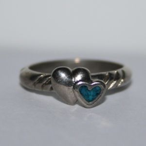 Tiny silver and turquoise heart ring size 2.5